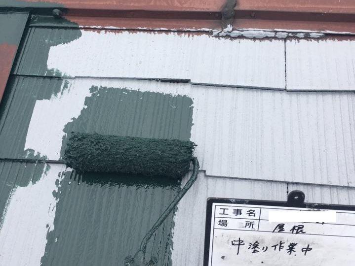 屋根中塗り施工