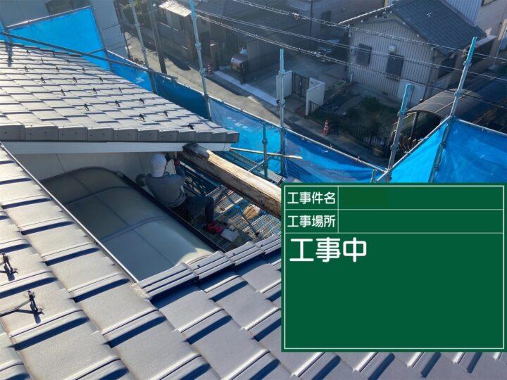 破風板接続部ひび割れシーリング補修施工