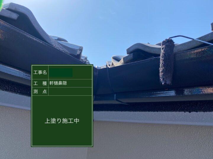 軒樋・鼻隠し塗装(上塗り)